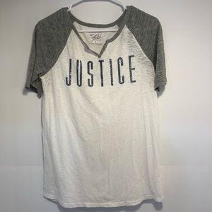 Justice sparkly baseball tee shirt